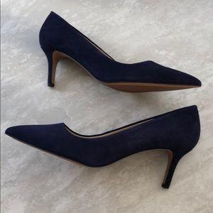 New Franco Sarto L-Tudor Heels Blue Pointed Toe